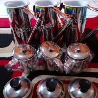 Paket teko thai tea 24 cm + mug stainless 3 pcs + saringan 3 pcs