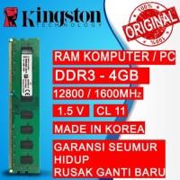 RAM PC KINGSTON DDR3 4gb 12800 / 1600MHz ORI RAM KOMPUTER RAM PC 1.5v