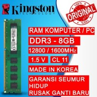 RAM PC KINGSTON DDR3 8GB 12800 / 1600MHz ORI RAM KOMPUTER RAM PC 1.5v