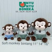 boneka soft Monkey monyet t-shirt 30cm animal kado souvenir