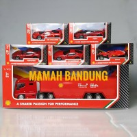 Shell V-Power Ferrari Burago Miniatur Miniature Mobil Diecast - Truck Hauler