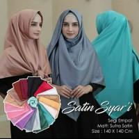 Hijab jilbab kerudung segi empat saten syar'i polos