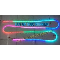 RUNNING LED STRIP SMD 5050 RGB WARNA WARNI IP44 KOMPLIT LAMPU BERJALAN
