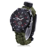 Jam Tangan 5in1 Paracord Survival Watch Gelang Kompas Outdoor Camping