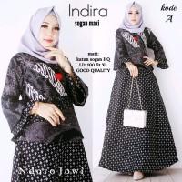 Indira Gamis Sogan Maxi Dress Batik Modern Wanita Terbaru