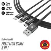 Delcell Zaxti Leon 3 in 1 2A 100cm Port micro Type-C lightning Kabel