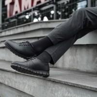 Besic Leo Black - Sepatu Formal Casual Kerja Pria Semi Kulit - Hitam, 40