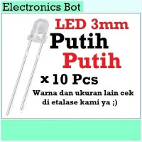 [EBS] LED Light Emitting Diode Dioda Menyala 3V 3mm Putih 10 Pcs Lampu