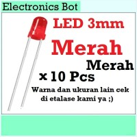 [EBS] LED Light Emitting Diode Dioda Menyala 3V 3mm Merah 10 Pcs Lampu