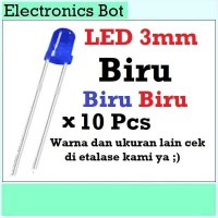 [EBS] LED Light Emitting Diode Dioda Menyala 3V 3mm Biru 10 Pcs Lampu