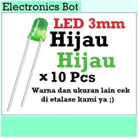 [EBS] LED Light Emitting Diode Dioda Menyala 3V 3mm Hijau 10 Pcs Lampu