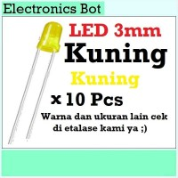 [EBS] LED Light Emitting Diode Dioda Menyala 3mm Kuning 10 Pcs Lampu