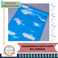Awan blue cerah uk.45cm x 10mtr | wallpaper dinding murah