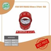 Lakban STAR TAPE FRAGILE MERAH (48mm x 65Meter)