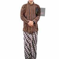 Setelan Baju Surjan Lurik Jumbo XXL + Jarik + Pakaian Adat Jawa