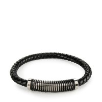 Urban State - Spiral Woven Leather Bracelet - Black