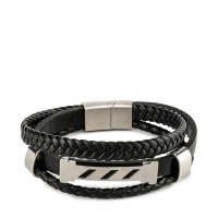 Urban State - Multi-Layer Braided Striped Leather Bracelet - Black