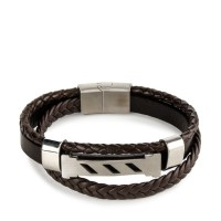 Urban State - Multi-Layer Braided Striped Leather Bracelet - Brown