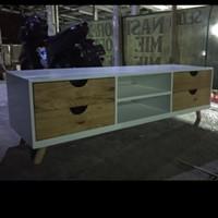 bufet TV kayu jati belanda 4 laci design scandinavian minimalis