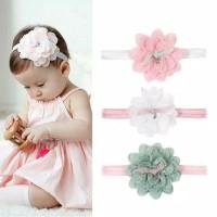 Bando bayi / Bandana bayi / Bandana bayi bunga cantik - Merah Muda