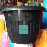 pot bunga tanaman plastik hitam Grace 40cm - kuping
