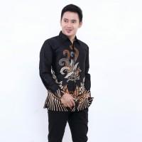 kemeja batik pria / pakaian batik pria lengan panjang terbaru - Real, L