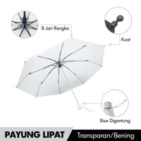 Payung Lipat Transparan Folding Umbrella Automatic NEK-3501 Transparan