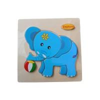 Puzzle kayu ukuran 15x15 seri elephant
