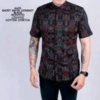 Kemeja Pendek Batik Pria Cowok Batik Songket Modern Hitam Slimfit
