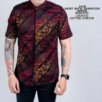 Kemeja Pendek Batik Pria Batik Songket Gradasi Merah Slimfit Casual