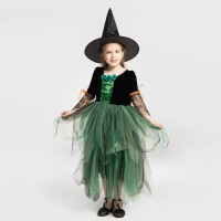 Kostum Witch Anak Magic Halloween Hijau Kostum Pesta Penyihir - S