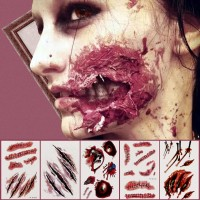 Tatto Temporary Darah Luka Scar Tatto Blood Scary Halloween Party