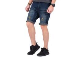 celana jeans pendek pria ripped / celana pendek jeans cowok sobek
