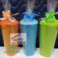 Gelas souvenir ulang tahun packing plastik dan pita