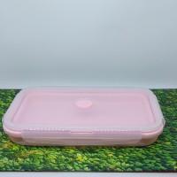 Kotak makan anak silikon pink bisa di lipat