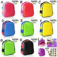 Tas Ransel Lego/ Tas Anak TK/ Tas Backpack Pixel bits/Kado Anak impor