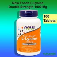Now Foods L-Lysine Double Strength 1000 mg 100 Amino Acid Asam Llysine