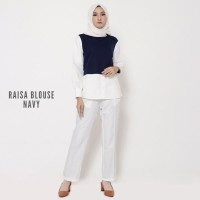 Promo Atasan Wanita Blouse Panjang Raisa Warna Navy 1112