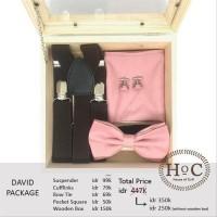 Groomsmen box bestman cufflinks dasi wedding bowtie suspender DAVID