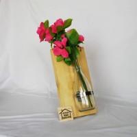 pot vas bunga tanaman dinding kayu pinus natural