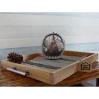 Tray Baki Nampan Kayu jati belanda dengan handle / pegangan