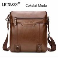 Tas Selempang Slempang Pria Kulit Premium/Sling Bag import LEINASEN