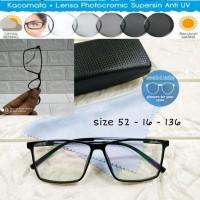 kacamata frame rectangle lentur + lensa photocromic rubah warna