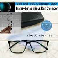kacamata frame kotak lentur gratis lensa minus supershine