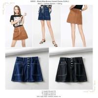 50845 Black Blue Brown Denim Skirt Rok Mini Denim Cokelat Hitam Biru
