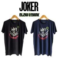 Baju Kaos Glow in the Dark Joker Why So Serious Big Size Jumbo Rhymes - Hitam, M