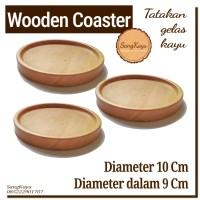 Wooden Coaster 10x1 DD-9 cm Tatakan gelas cangkir mug kopi kayu unik