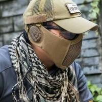 Tactical Mask Jaring Masker Airsoft Half Face Double Strap Import
