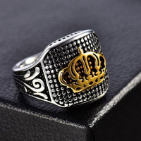 Cincin Pria Stainless Steel King Crown Gold Silver JCP-009