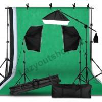 Paket lighting studio softbox stand kain background dan boom arm